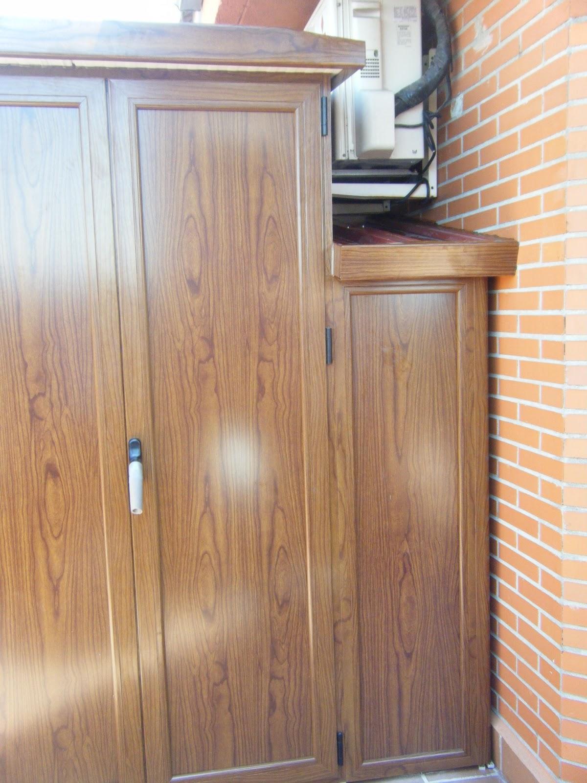 Aluminios alusa armario imitacion madera - Armarios para terrazas ...