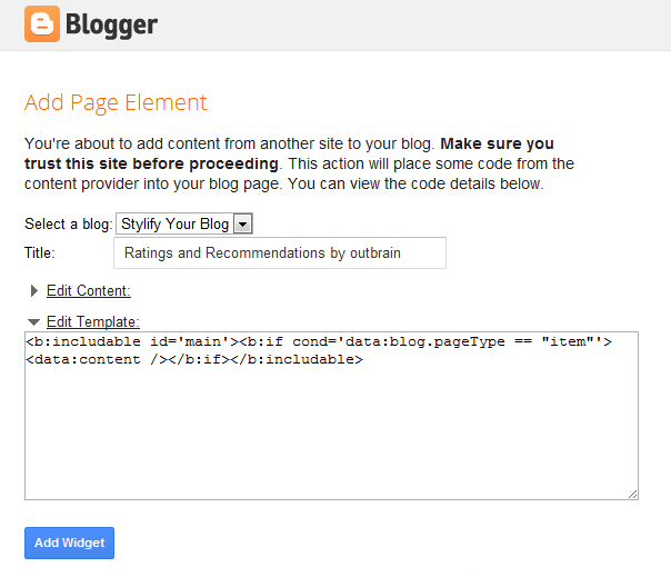 add widget to blogger