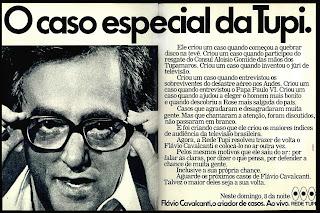 propaganda programa Flavio Cavalcanti da Rede Tupi - 1978; os anos 70; propaganda na década de 70; Brazil in the 70s, história anos 70; Oswaldo Hernandez;
