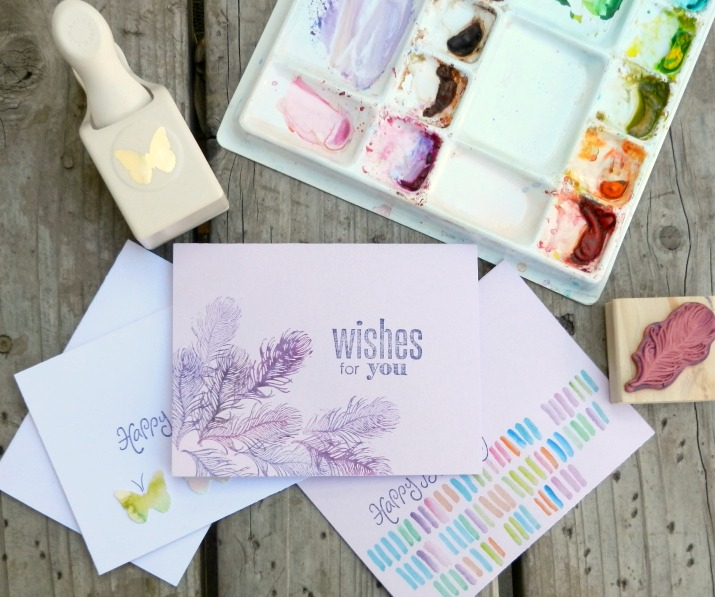 Feather Birthday Card Made with Watercolors and Stamps by Grow Creative