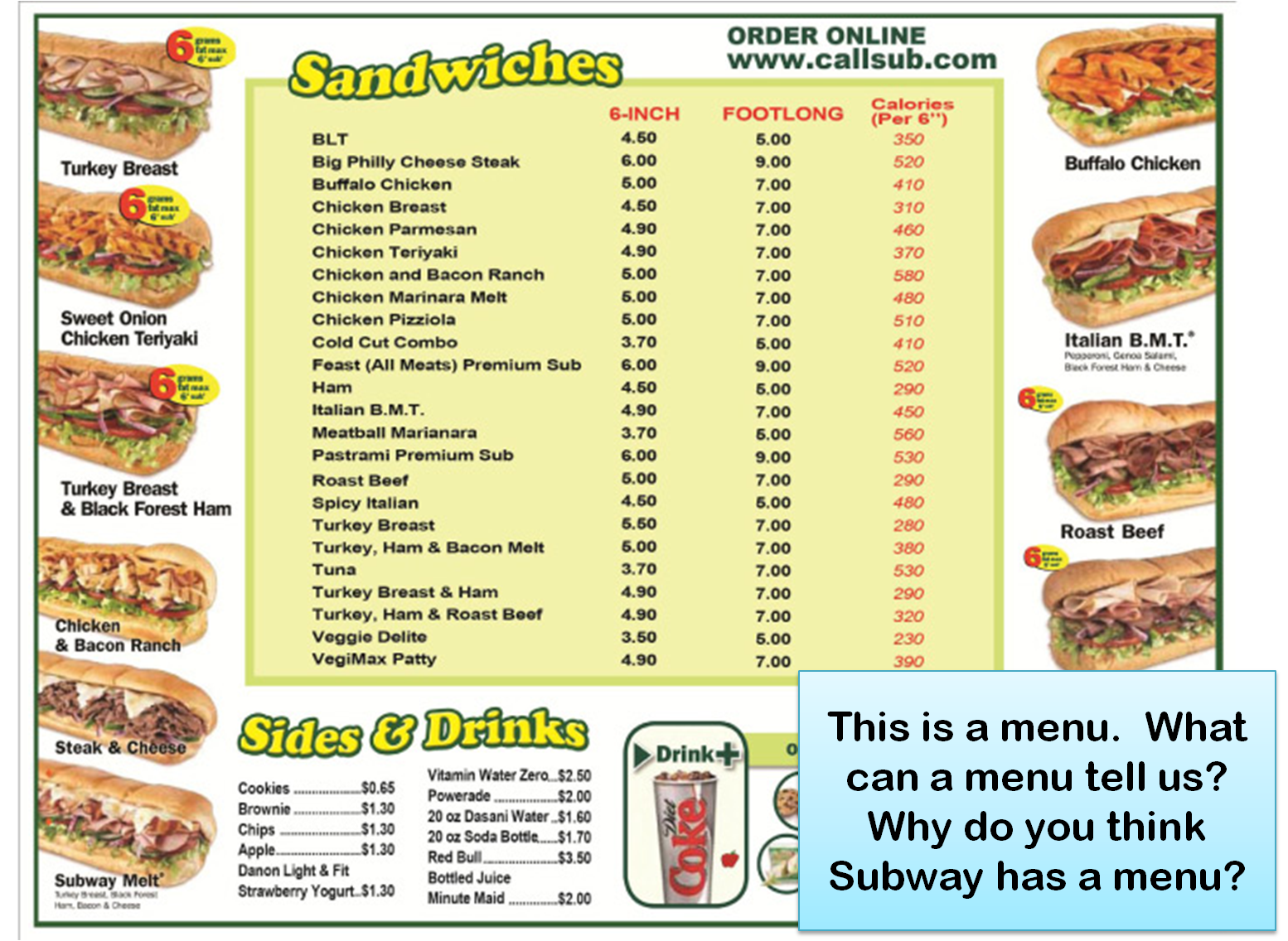 Subway Sandwiches Menu