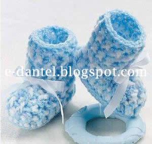 Çizme Motifli Bebek Patik Örneği