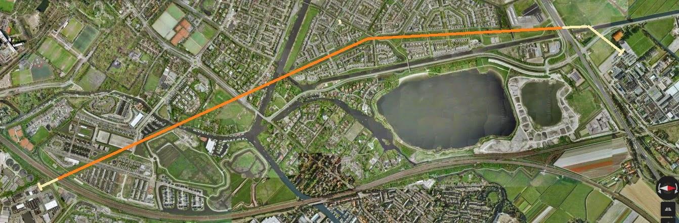 Het gehele tracé van de 150kV hoogspanningsleiding die door de gemeente Oegstgeest loopt