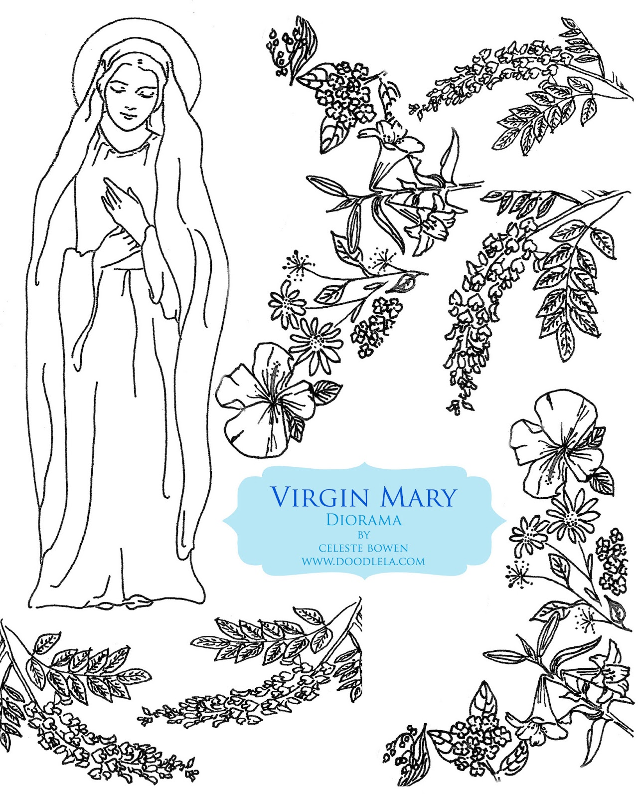 Printable coloring pages virgin mary - Next Have Your Kids Color The Images And Cut Them Out You Can Be As Detailed Or Simple As You D Like Both With Coloring And With Cutting