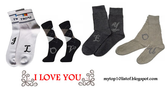 4 pairs of socks with the I LOVE YOU message printed
