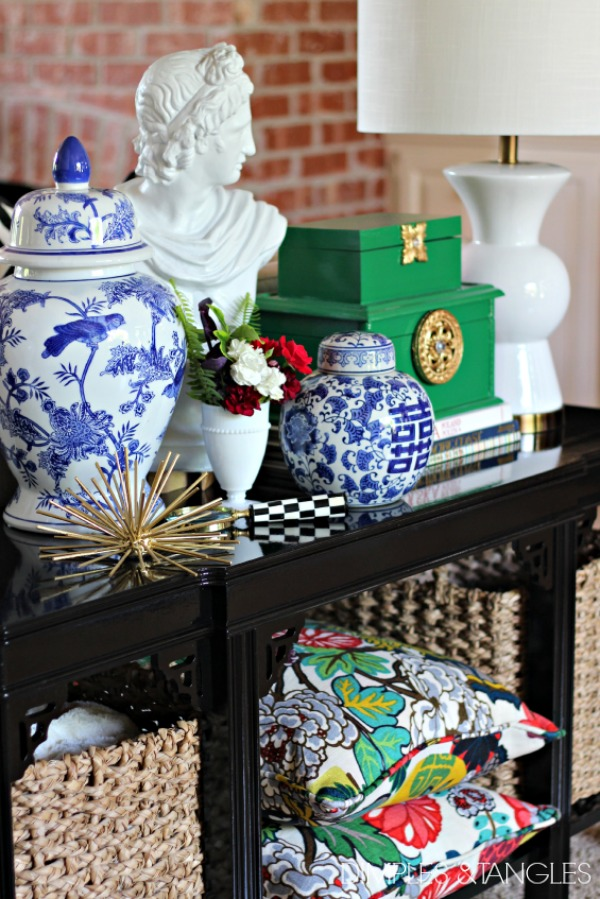 Rustoleum Meadow Green, Sofa Table Styling, decorative bust, blue and white, chiang mai dragon pillows
