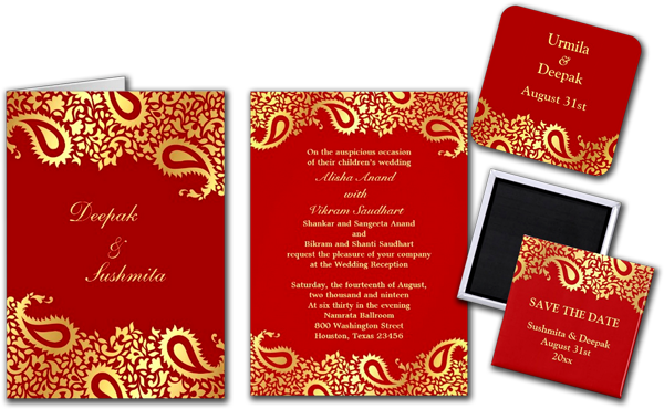 Paisleys Elegant Indian Wedding Invitation Greeting Card