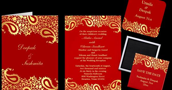 Wedding Cards And Gifts Paisleys Elegant Indian Wedding Invitation Greeting Card