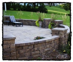 Patio and Wall by Kiefer Landscaping