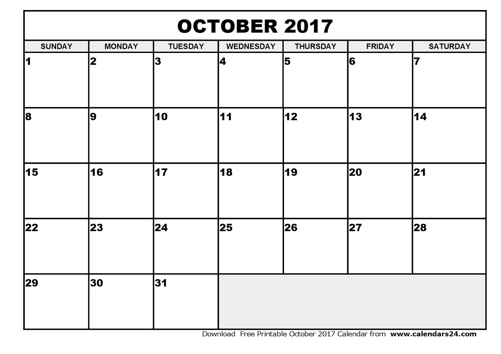 October 2017 Calendar Printable Templates