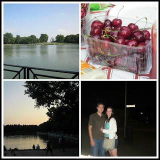 lake cherries summer sunset