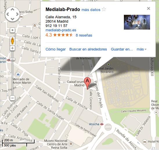 https://maps.google.es/maps?t=m&sll=40.410803,-3.693575&sspn=0.0062739,0.0109864&q=Medialab-Prado&cid=0xd69ac9ed8a94df3d&output=classic&dg=ntvb