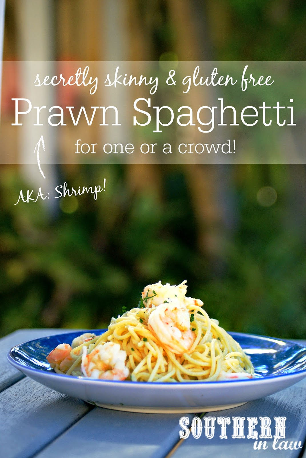 Lightened Up Shrimp Spaghetti Recipe - gluten free, low fat, clean eating friendly, healthy spaghetti recipe