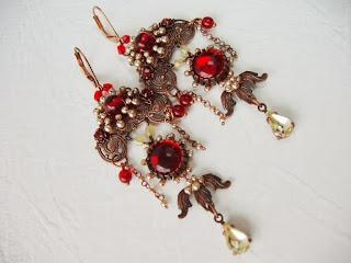 punased kõrvarõngad vintage stiilis ehted Eesti kristallid