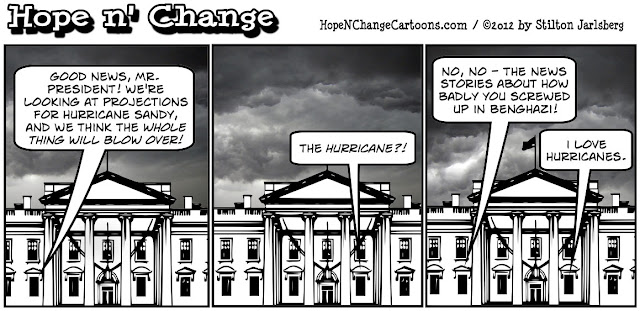 barack obama celebrates hurricane sandy because it will distract from benghazi