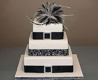 Square Three Tier Diamantes Buckle and Black Ribbon Wedding Cake