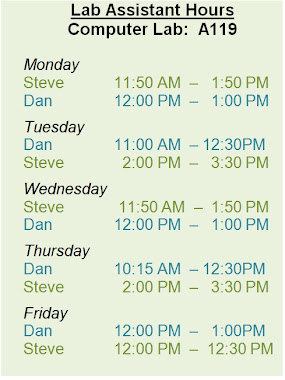 Lab Assistant hours for Spring 2013