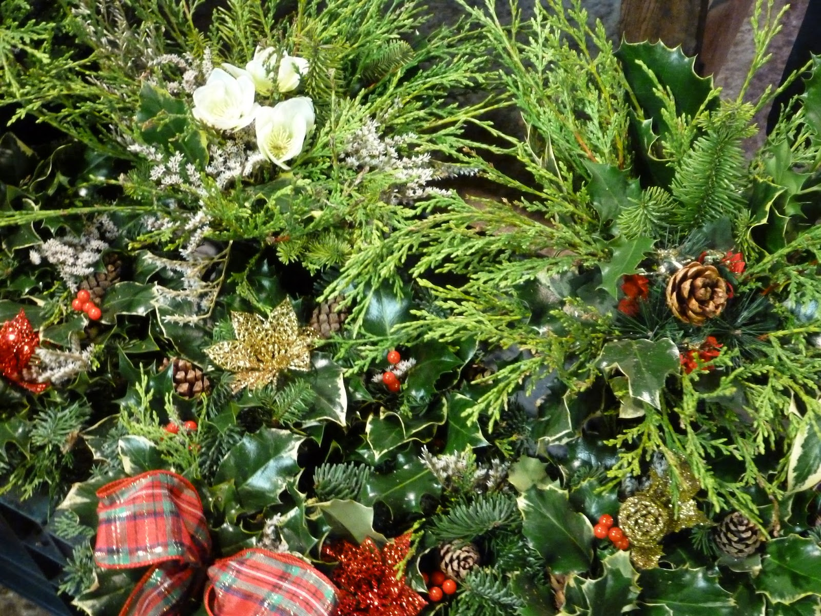 Farmers market stall christmas wreaths