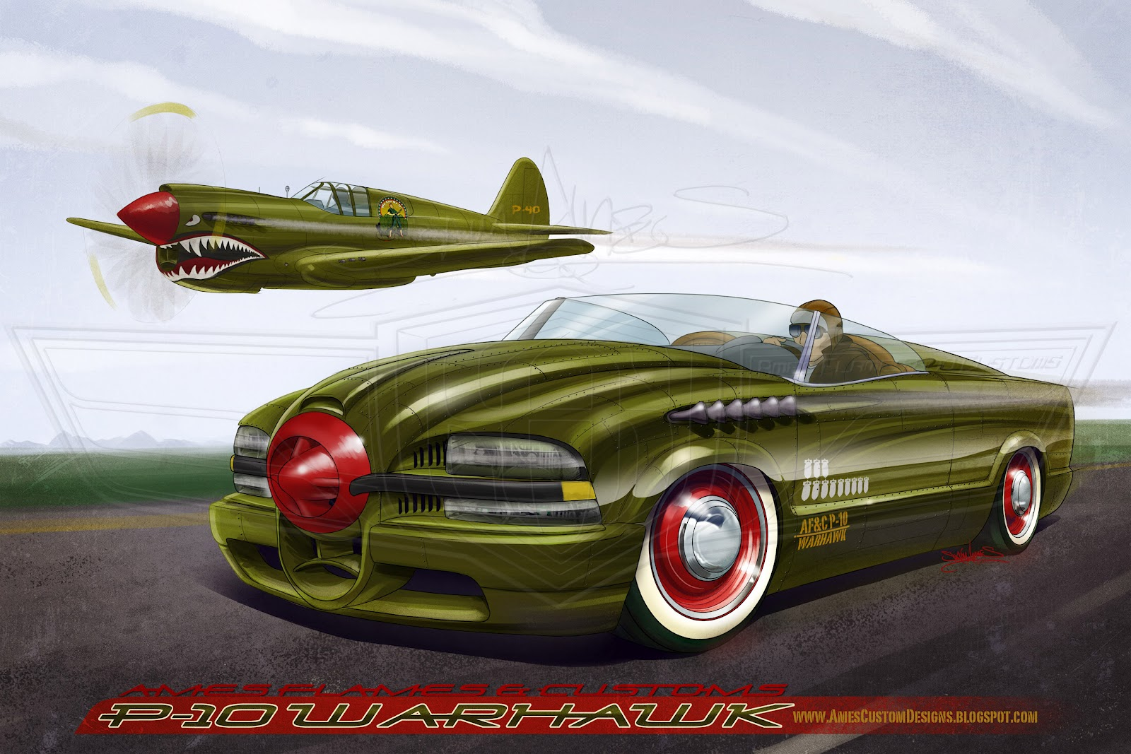 SAM AMES  P 40 Warhawk Meets the Chevy S10