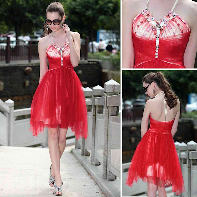 Red Halter Knee Length Dress