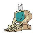 cartoon of computer with arms typing on its keyboard