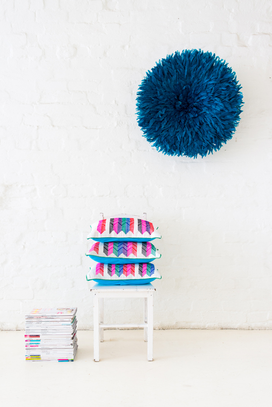 Safari Fusion blog | Langazela Cushions | Arrow design | Bright coloured wool embroidered on recycled corn sacks by Safari Fusion by Safari Fusion