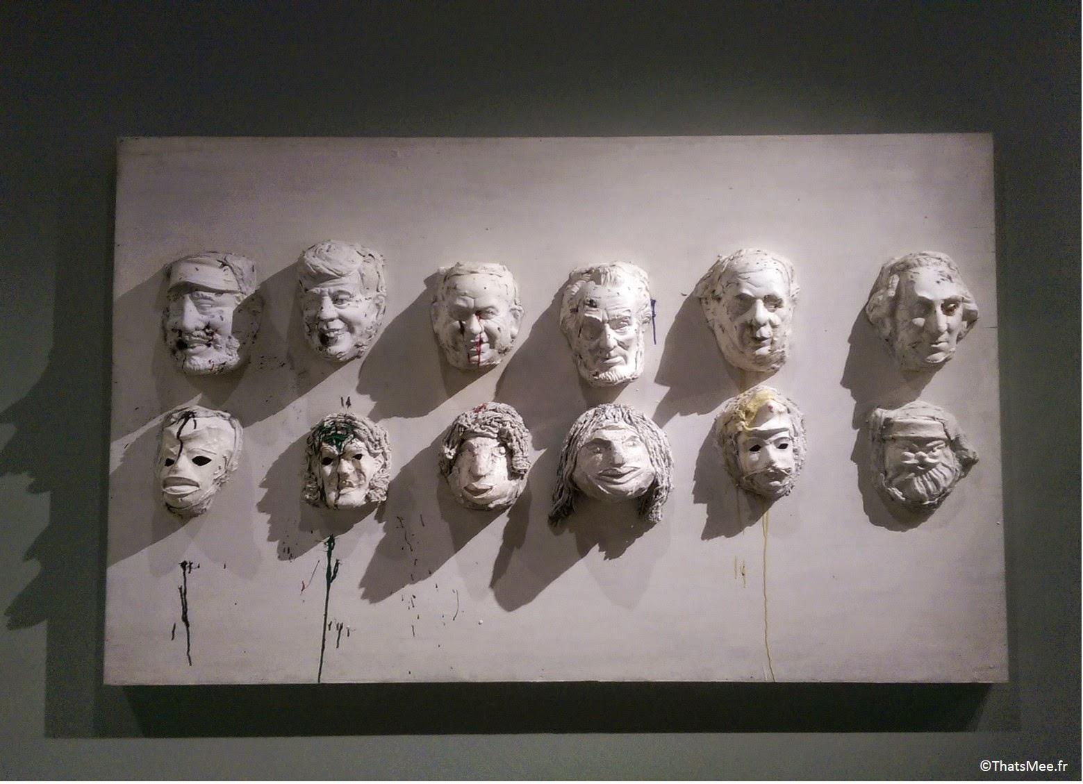 Niki de Sain-Phalle heads of state tableau modelage des visages des présidents américain et russe années 1960, Niki de Saint Phalle Grand Palais Paris expo