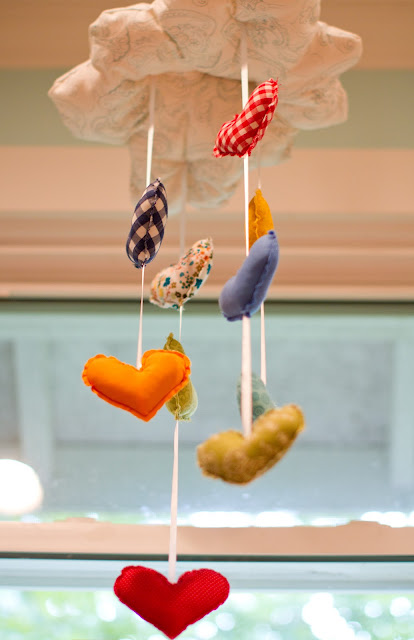 Baby colorful heart mobile
