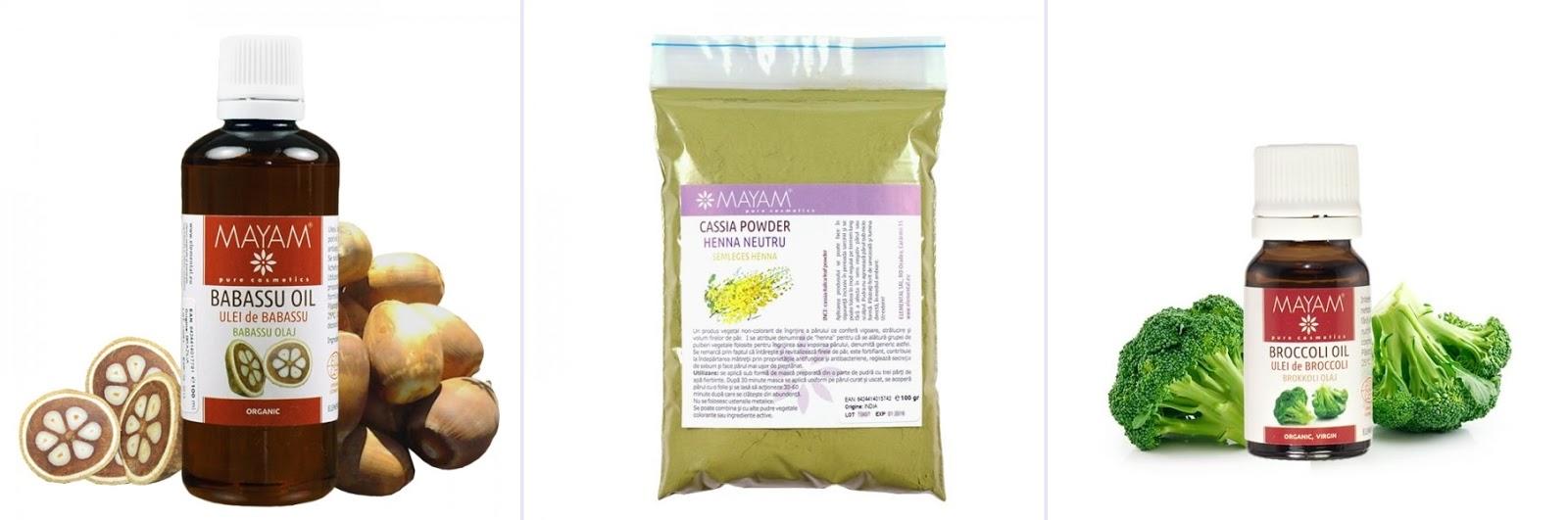 Kit pentru par: Ulei de Babassu, Henna Neutru, Ulei de Broccoli (Mayam)