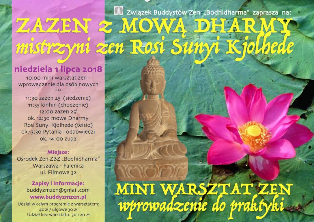 Mini warsztat zen oraz Zazen z mową Rosi Sunyi Kjolhede