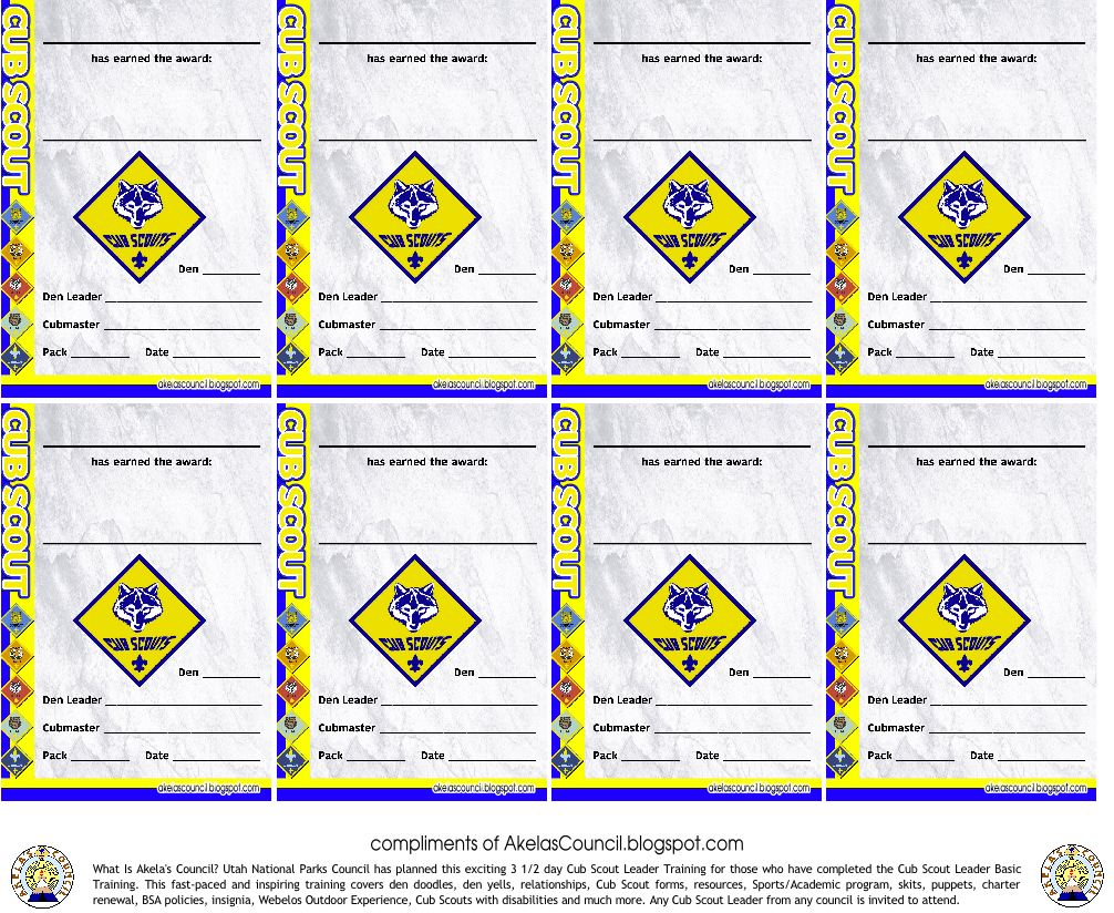 Akelas council cub scout leader training cub scout award patch cub scout award patch pocket certificate to be given out at pack meeting to recognize any completed award yelopaper Choice Image