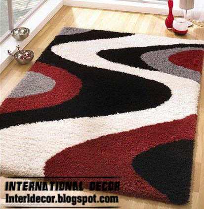 Black White And Red Rug Contemporary Style Modern Model Picture