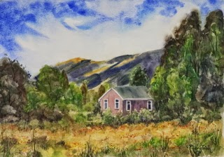 Wonderful Landscape mountain, cottage and foliage  Watercolor Painting on paper size 29.5 x 42 cm