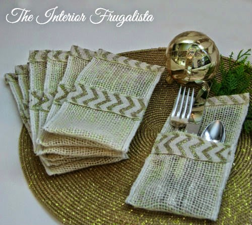 Creme burlap and glittery gold chevron holiday flatware pouches View 2
