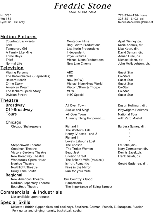 fredric stone actor director teacher film resume