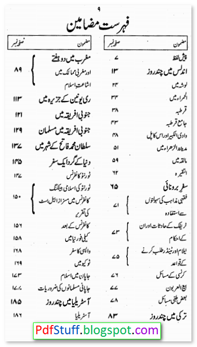 Contents of the Urdu book/Safarnama Dunya Meray Aagay