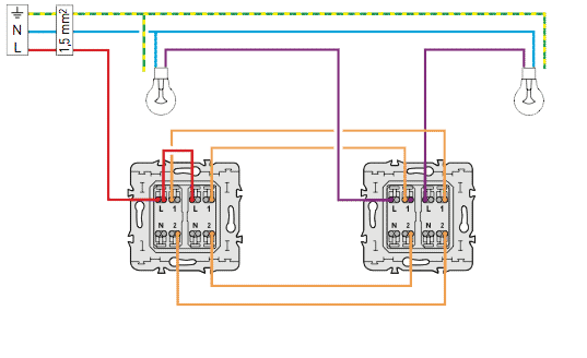 Schema electrique c blage electrique du double va et vient for Circuit electrique va et vient
