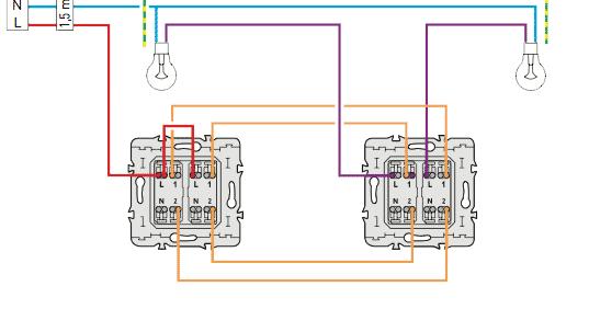 Schema electrique c blage electrique du double va et vient for Cablage vas et vient