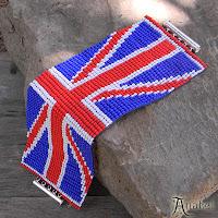 купить заказать браслет из бисера с британским флагом украина россия