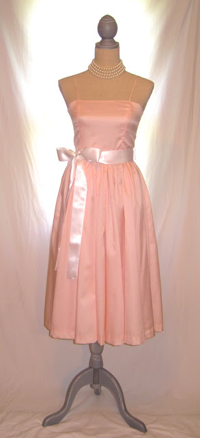 Pink color thin strap handmade bridesmaids full skirt dress