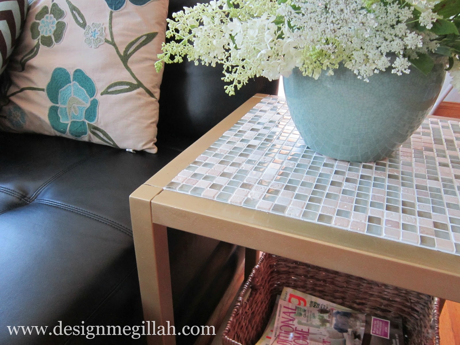 Tiled End Table Makeover Guest Post by Design Megillah Pretty