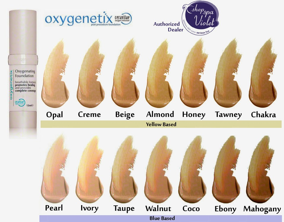 Oxygenetix colors opal creme beige almond honey tawney chakra pearl ivory taupe walnut coco ebony and Mahogany