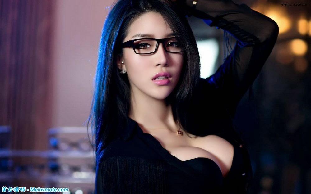 Hungry girl burst milk glasses secretary