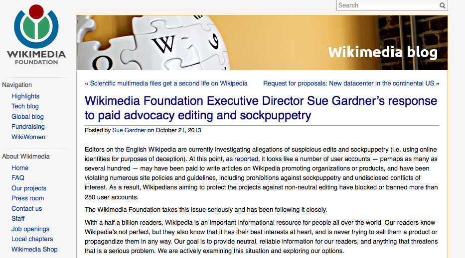Wikipedia has cleaned by removing more than 250 user accounts: they are accused of being fake profiles posted by people paid to write articles for the benefit of private companies. A lack of transparency that the online encyclopedia will not tolerate.
