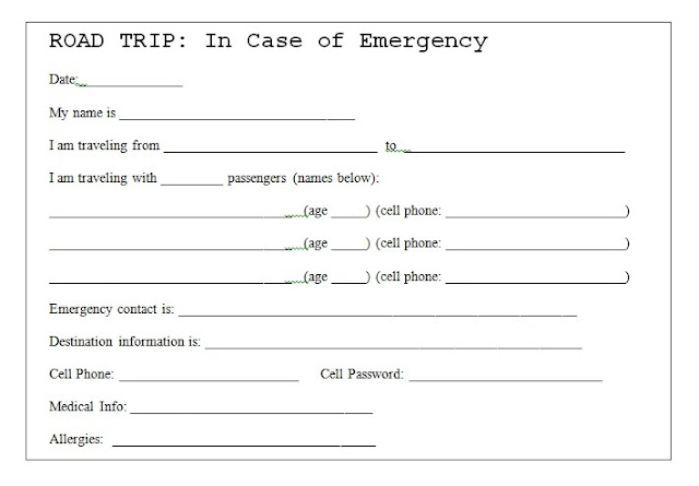 printable template for Road Trip Safety Card