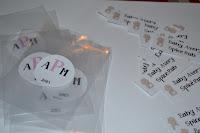 cello bag with monogram stickers