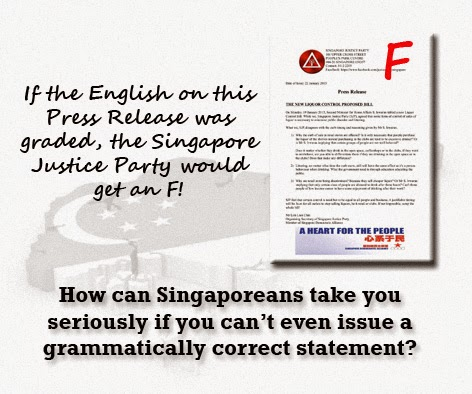Singapore Justice Party Opposition epicfail press release