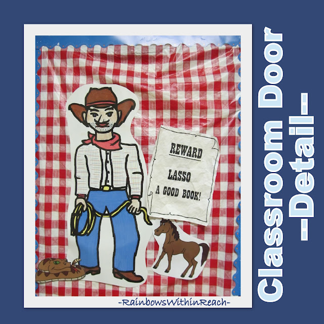 photo of: Classroom Door Decoration Detail: Cowboy Western Theme