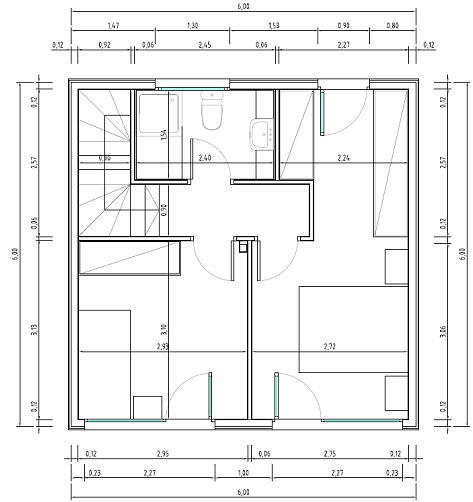 Planos de casas econ micas en un espacio de 6 x 6 metros for Planos arquitectonicos de casas de dos plantas pdf