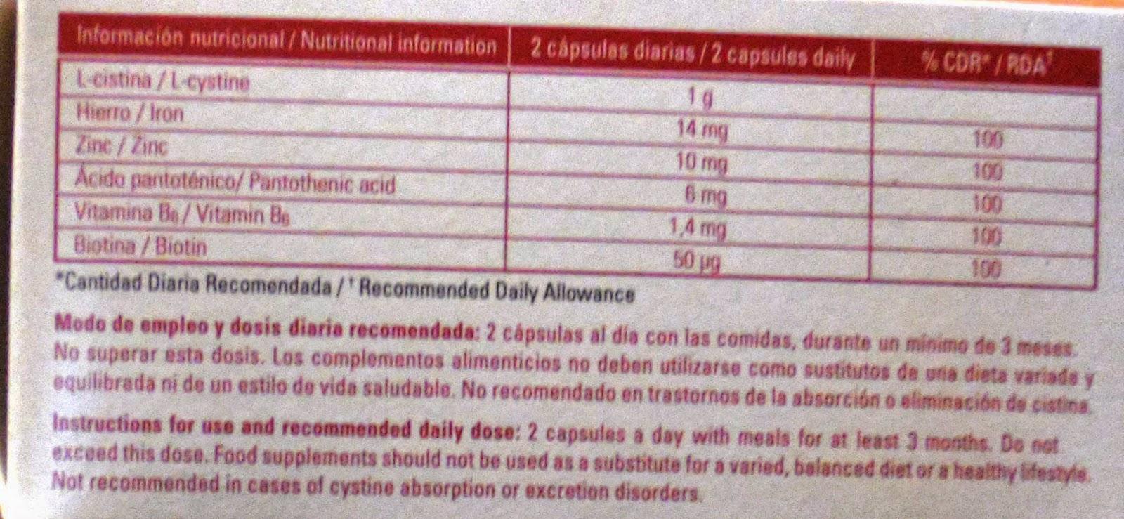 vitacrecil forte ingredientes composicion